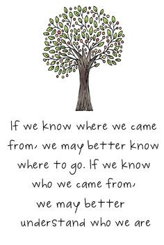 Do you know where you came from?...this would make a nice dedication ...