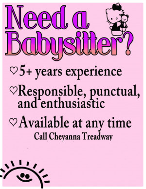 babysitter flyer babysitting job flyers good babysitting flyer ideas