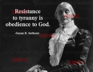 Susan B. Anthony Resistance Quote Poster