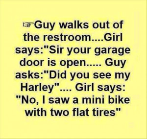 Guys walks out of the restroom Girl says