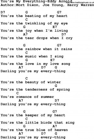 Country music song: You're My Everything-Eddy Arnold lyrics and chords
