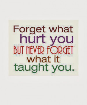 Forget what hurt you but never forget