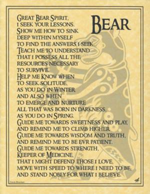 ... SPIRIT of BEAR Animal Totem Prayer Poster BOS PAGE Wicca Pagan Witch