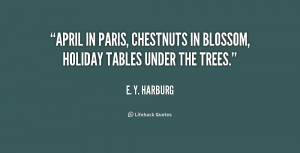 April in Paris, chestnuts in blossom, holiday tables under the trees ...