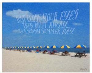 Colorful Beach Umbrellas Summer Sea shore Beach Memories Quote 8x10 ...