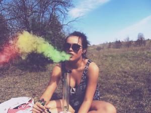 bong, girl, hippie, smoke, smoking