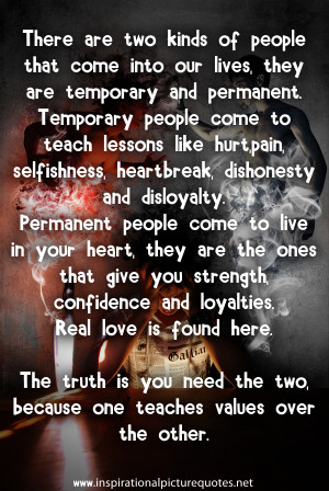 ... Are Temporary And Permanent. Temporary People Come To… ~ Sad Quote