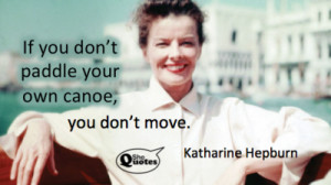 Katharine Hepburn paddled hard