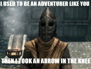 ... Said in Skyrim by the Guard Who Used to be An Adventurer Like You