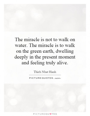 The miracle is not to walk on water. The miracle is to walk on the ...