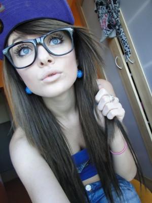 ... , cute, earrings, eyes, girl, glasses, hat, jeans, lips, pretty, sexy