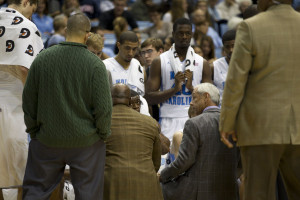 UNC head coach Roy Williams addresses his players during a timeout on ...