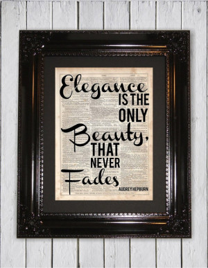 Audrey Hepburn Elegance Quote, Dictionary Art Print,Upcycled Book Art ...