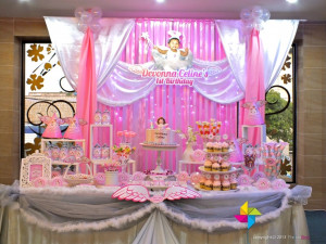 & cake / candy table for a Heavenly Little Angel theme birthday ...