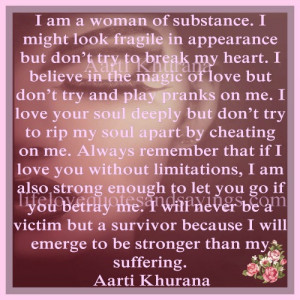 am a woman of substance...