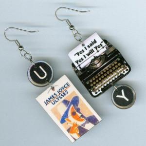 Ulysses Earrings Vintage Typewriter James Joyce quote book cover