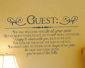 Guests Welcome Decal for guest room s ...