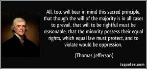 ... must protect, and to violate would be oppression. - Thomas Jefferson