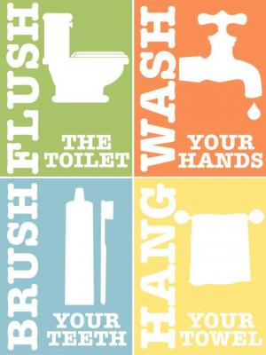 Kids Bathroom Rules Set of 4 Printable Art by PrintablesByAshley