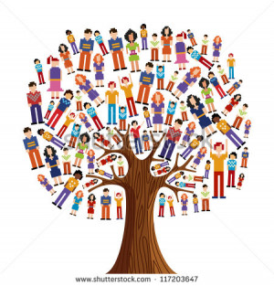 Isolated diversity tree with pixelated people illustration. Vector ...