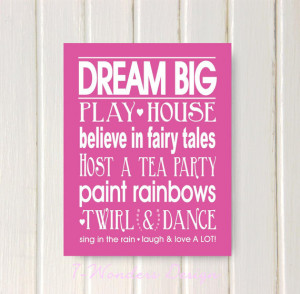Girls Bedroom Quotes Dream Big Wall Art Print -11