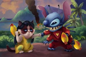 Grumpy Cat & Stitch Fighting Crime In Disney & Meme Crossover Art