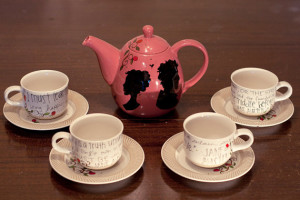 Pride and Prejudice Tea Set - Jane Austen Quotes - Hand painted - Rose ...