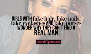 Girls with fake hair, fake nails, fake eyelashes and fake purses ...