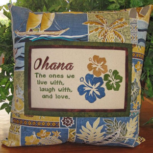 Hawaiian #Ohana Family Embroidered Quote Pillow by MrsStitchesDesigns ...
