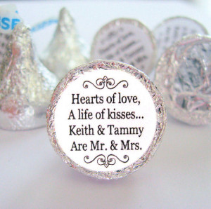 Mr. and Mrs. Kisses Stickers Personalized Wedding Hershey Labels ...