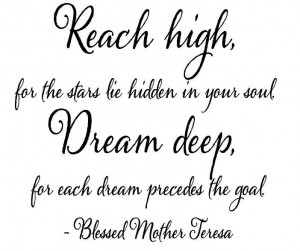 ... Quotes | Wall Quotes - Reach High Dream Deep Mother Theresa Quote Wall