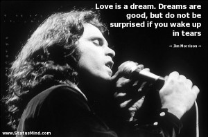 Love is a dream. Dreams are good, but do not be surprised if you wake ...