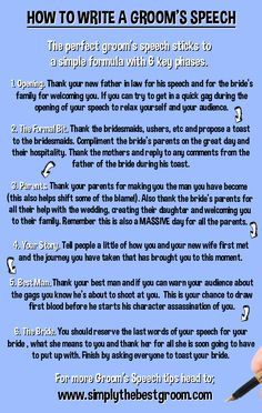 How to Write A Groom's Speech www.simplythebestgroom.com