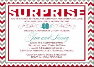 Surprise Anniversary Party Invitations and Wording Ideas