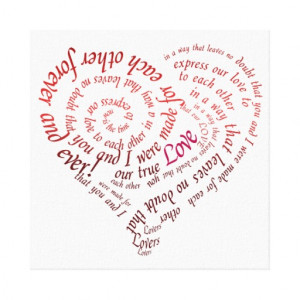 Heart Calligraphy Love Quote Canvas Prints