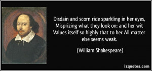 Disdain and scorn ride sparkling in her eyes, Misprizing what they ...