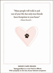Pet Sympathy Card Pawprints