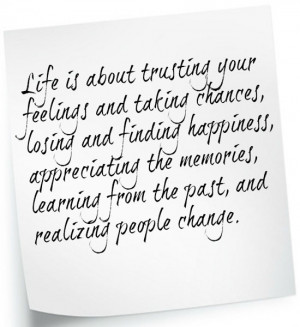 ... Trusting Your Feelings And Taking Chances Losing And Finding Happiness