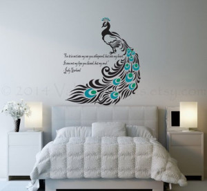 Peacock wall decal, love quote decal, wall sticker,vinyl graphic wall ...