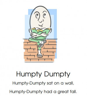 ... free, printable nursery rhymes for children including Humpty Dumpty