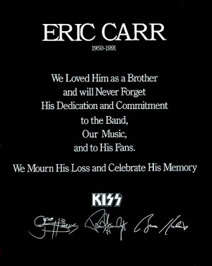 Celebrating Eric Carr's Birthday - July 12