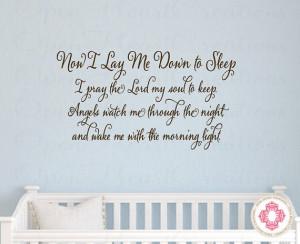 Down To Sleep Baby Nursery Wall Decal - Vinyl Wall Quote Saying Prayer ...