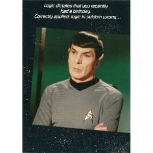 1985 STAR TREK SPOCK BELATED BIRTHDAY GREETING CARD WITH ENVELOPE