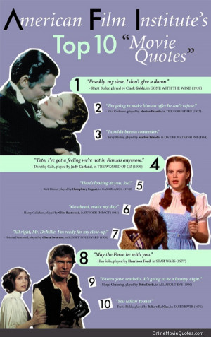 The top 10 movie quote from the American Film Institute.