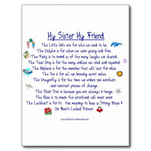 MY SISTER My Friend poem with graphics Postcards