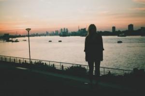 alone, city, dark, girl, river, water