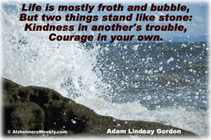 ... Kindness in another's trouble, Courage in your own. -Adam Lindsay