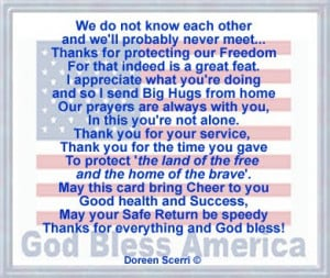 Re: Poem: Thanking Soldier for Service/Protecting our Freedo