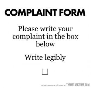Funny photos funny complaint form joke