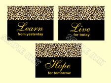 Leopard Print Learn Live Hope Quotes Wall Art Prints Girl Room Nursery